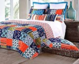 Bohemian Quilt Set with Shams Double Bed Full/Queen Geometric Mandala Patchwork Print Pattern Navy Blue Teal Coral Yellow 100 Cotton 3 Piece Reversible Bedding - Includes Bed Sheet Straps