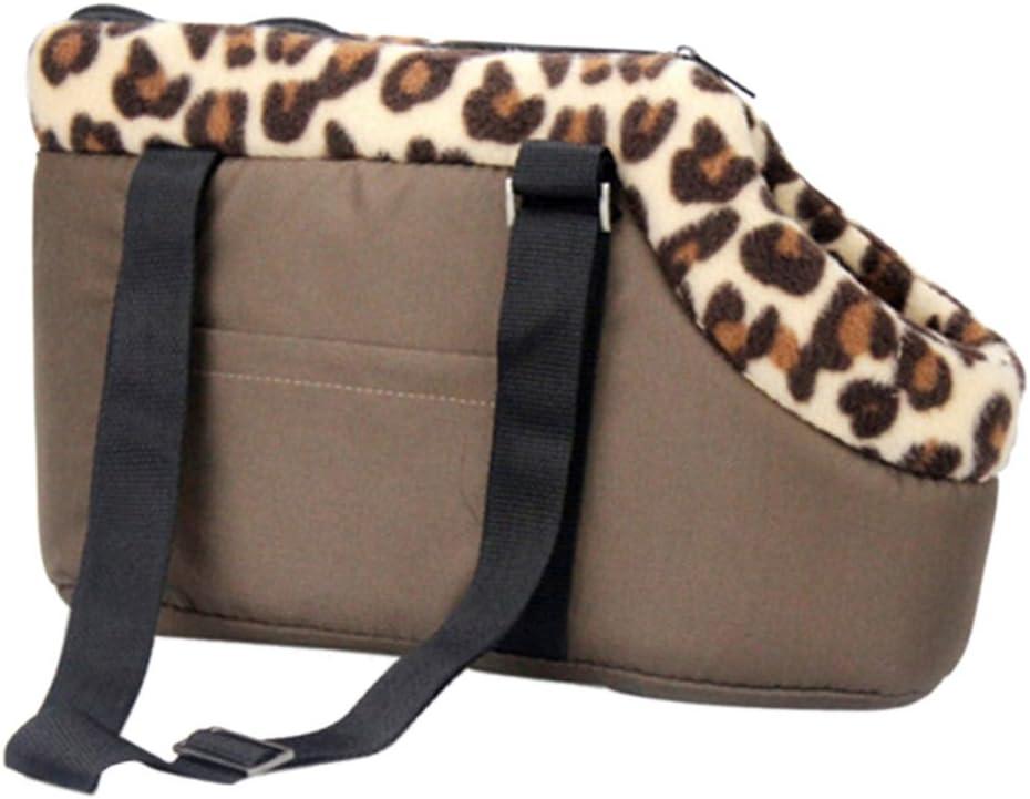 Qianle Leopard Dots Lightweight Pet Carrier Dog Cat Handbag Shoulder Tote Bags Coffees