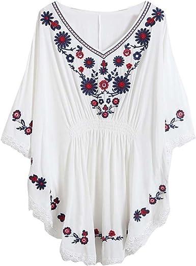 Kafeimali Mujer Batwing para túnicas blusa de bordado de campesino Tops mexicano