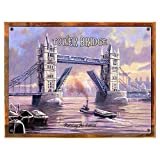 Wood-Framed Tower Bridge Metal Sign: Travel Decor Wall Accent for kitchen on reclaimed, rustic wood