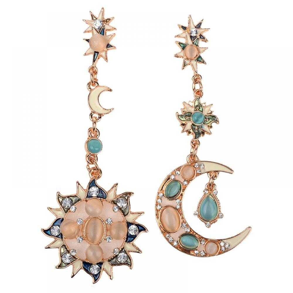 MAXGOODS Star Sun God & Moon Crystal Rhinestone Stud Dangle Earrings SDF059