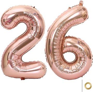 Huture 2 Globos Número 26 Figuras Globo Inflable de Helio Globos Grandes de Aluminio Mylar Globos Oro Rosa Gigantes Número Globos 40 Pulgadas para Fiesta de Cumpleaños decoración graduación XXL 100cm