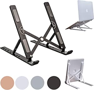 Portable Laptop Stand Foldable Aluminum Adjustable Laptop Stand for Desk with 7 Angle Adjustable Stand for MacBook Air, MacBook Pro, iPad and Tablet, Laptop. (Black)
