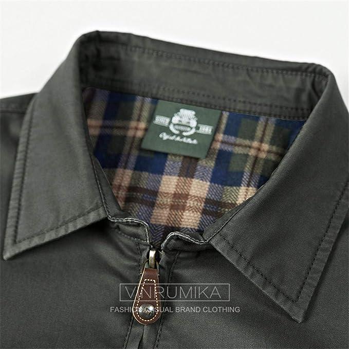 Karmder Giacca da Mezza Stagione in Cotone Casual 100% Cotone Colore Kaki  Cappotto Primavera Giacche Cappotti Plus Size M-4XL  Amazon.it   Abbigliamento 1df130e9916