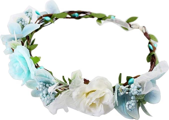 Artificial Silk Roses Boho Kids Girls Flower Crown Floral Headband Headpiece Womens Wedding Bridal Wreath