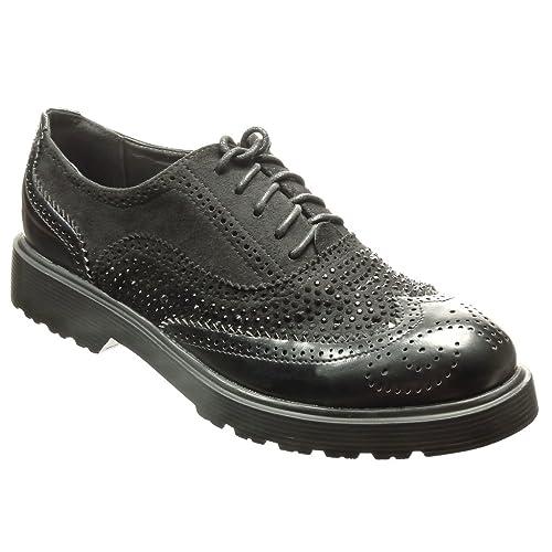 d1c0f90c6a89d Angkorly - Chaussure Mode Richelieu Derbies bi-matière Femme Strass Diamant  perforée Talon Bloc 3