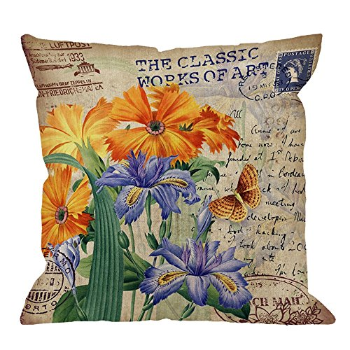 HGOD DESIGNS Throw Pillow Cover Orris Flower with Vintage Butterfly Stamp Retro Letter Violet Yellow Green Home Decorative Pillow Cases Cotton Linen Square Cushion Covers For Sofa Couch 18x18 Inch ()