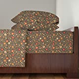 Roostery India 3pc Sheet Set Indian Floral Coffee&Cardamom by Dariara Twin Sheet Set made with