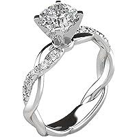 Partysu Cubic Zirconia Solitaire Platinum Womens Ring (Size 8)