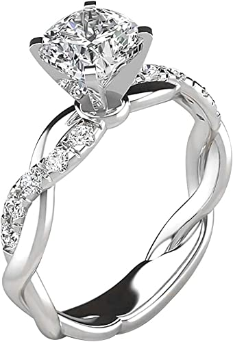 Amazon Com Pashy Silver Ring For Women Bridal Zircon Diamond