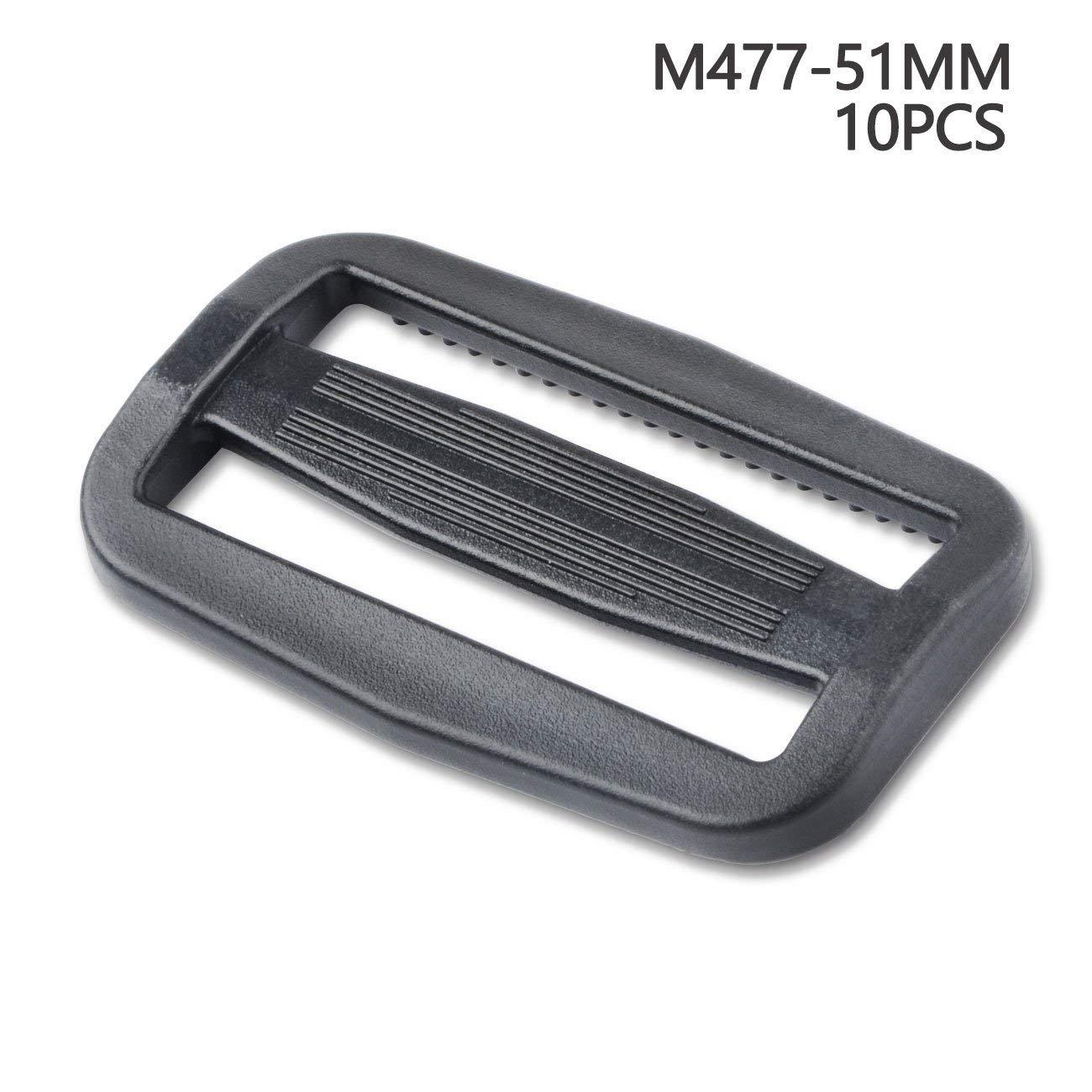 Multi-Size Straps Webbing Slide Triglides Slide Plastic Slide Buckle for Backpack Bag (32 mm,Black)