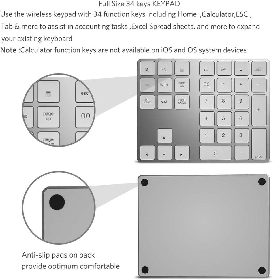 Zienstar-Teclado Numérico Bluetooth,Externo Inalámbrico de 34Teclas con Múltiples Accesos Directos para Computadora Portátil Surface Pro Apple iMac Mackbook iPad Android Tablet Smartphone-Plata: Amazon.es: Electrónica