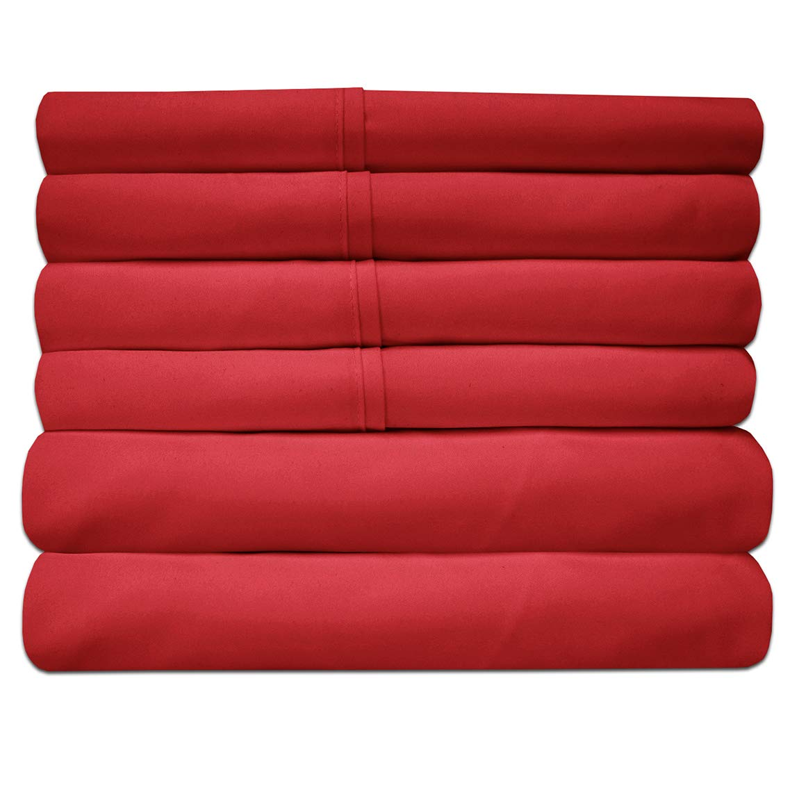 Sweet Home Collection King Size Bed Sheets-6 Piece 1500 Thread Count Fine Brushed Microfiber Deep Pocket Set-2 EXTRA PILLOW CASES, VALUE, Samba Red
