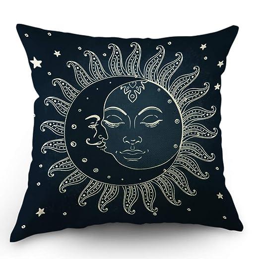 Rockboy Moslion Sun Moon Almohadas Cojín Decorativo Funda de ...