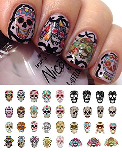 Sugar Skull Nail Decals Assortment #1 Water Slide Nail Art Decals- Salon Quality! -