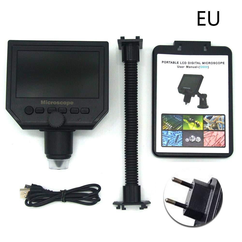 Waroomss – Microscopio Digital USB, 600 x Aumento 3.6 MP microscopio microscopio MP electrónico Digital USB, microscopio electrónico portátil de USB de microscopio de VGA Digital con 4.3 HD, Gran visión 2d15aa