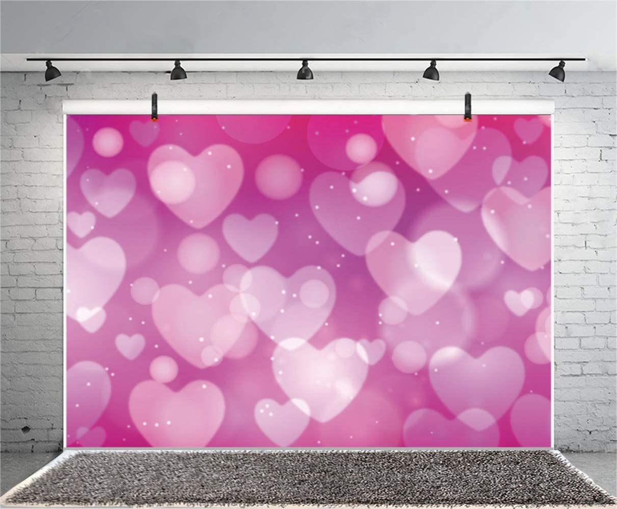 Dreamlike Sweet Rosered Heart Haloes Backdrop Polyester 10x6.5ft Wedding Valentines Day Photography Background Child Newborn Girl Adult Bride Portrait Shoot Wedding Anniversary Photo Props