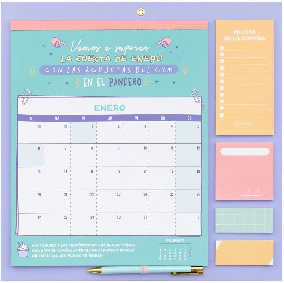 Include superficie magnetica per frigorifero Erik/® Calendario da muro Carouge con Planner Mensile 2019//2020 Ideale per lorganizzazione della famiglia grazie alle sue funzioni extra