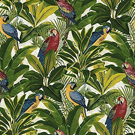 Grandeco Ideco Exotic Bird Pattern Parrot Motif Tropical Leaves Wallpaper Red A11502