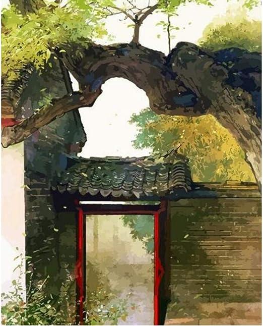 Pintura por números DIY aceite chino antiguo Artes marciales selva bosque Pavilion ramas árbol casa para decoración del hogar 16 x 20 pulgadas: Amazon.es: Juguetes y juegos