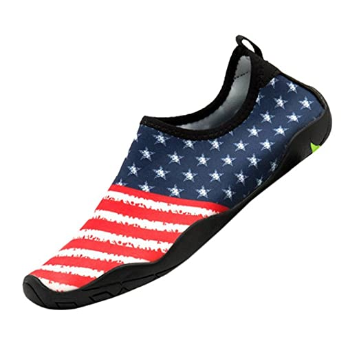 1f11be4511ac Creazrise Women s Men s American Flag Water Shoes Barefoot Quick-Dry Aqua  Socks for Beach (