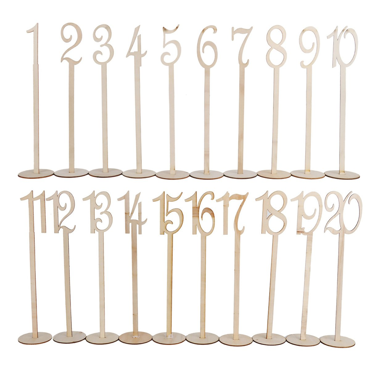 Freebily Table Number Holders, 1-20 Generic Wooden Table Decoration for Wedding Birthday Party Hotel