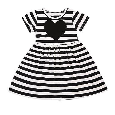 5ba4c8019 Amazon.com  Imcute Baby Girls Kids Black White Striped Short Sleeve ...