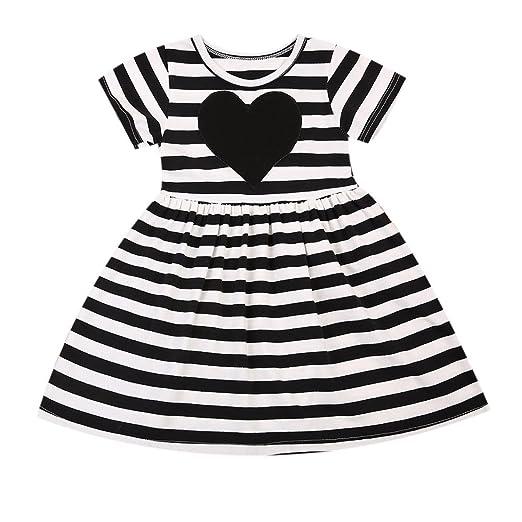 bf7cc9e7ea1 Imcute Baby Girls Kids Black White Striped Short Sleeve Cotton Dress One  Piece (1-
