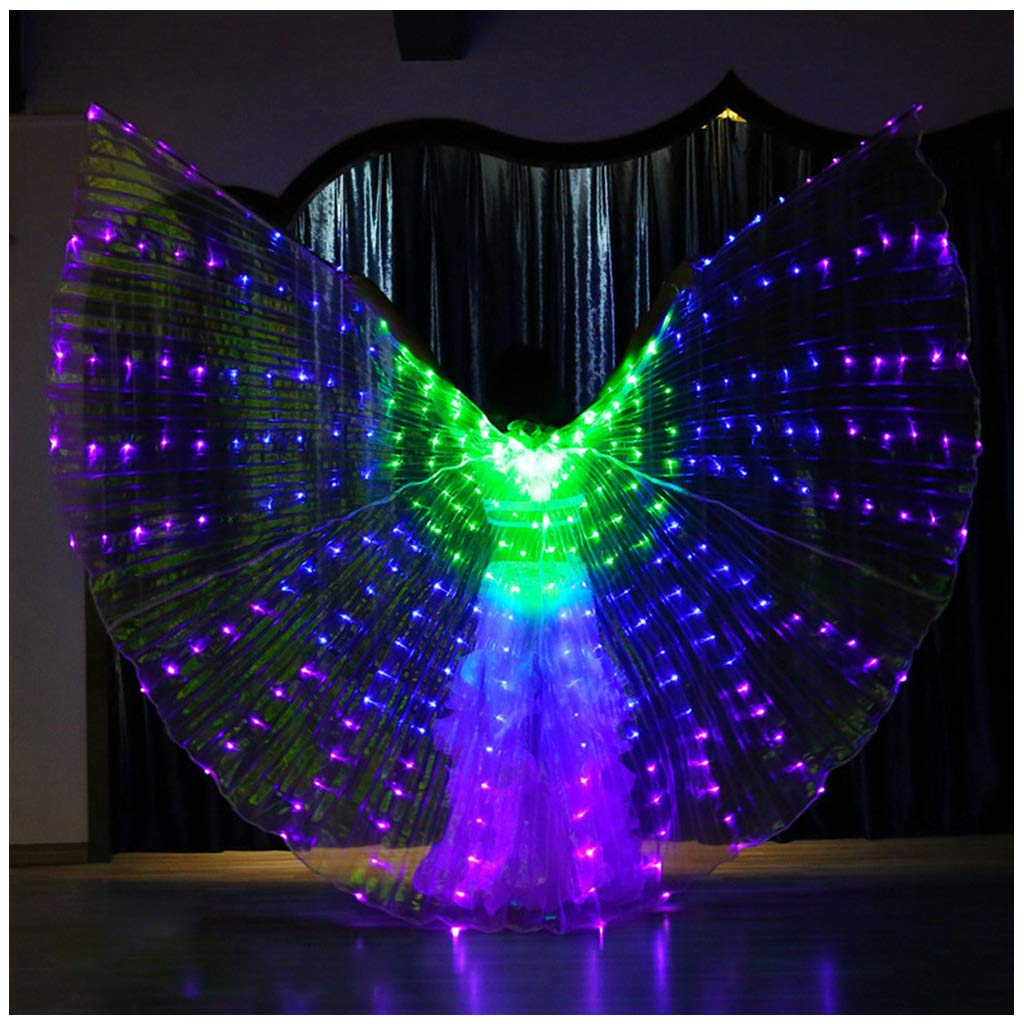 Flurries  LED Glow Angel Isis Wings - Belly Dance Costume Cloak - Neon Rainbow Color Butterfly Wings - Performance Clothing Cosplay Prop with Sticks - for Carnival Halloween Shows (Navy) by Flurries