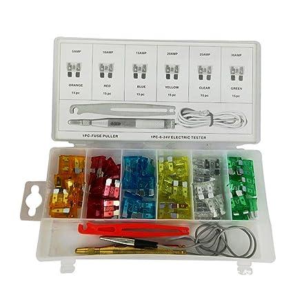 amazon com: daycount pack of 93 auto car mini standard blade fuses  assortment kit set test pen clip puller automotive car suv boat truck blade fuse  box set: