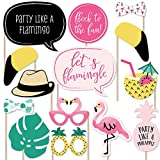 Big Dot of Happiness Pink Flamingo - Party Like a Pineapple - Tropical Summer Party Photo Booth Props Kit - 20 Count