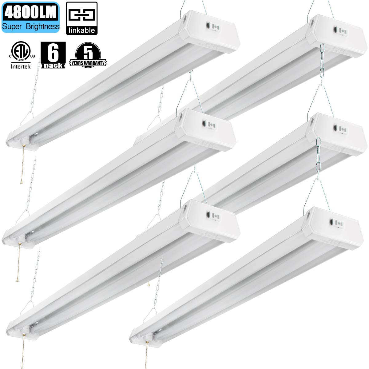 Linkable led shop light 4ft 42w 5000k 4800lm super bright cetlus certified garage lighting fixture with pull chainon off 5000k 6pk amazon com