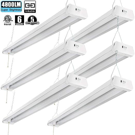4ft Led Shop Light >> Linkable Led Shop Light 4ft 42w 5000k 4800lm Super Bright Cetlus Certified Garage Lighting Fixture With Pull Chain On Off 5000k 6pk