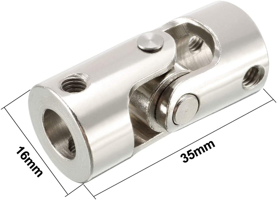 sourcing map 2pcs 6mm to 6mm Inner Dia Rotatable Universal Steering Shaft U Joint Coupler L23XD11