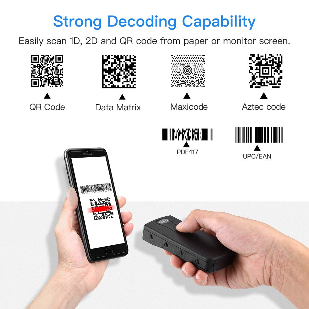 Eyoyo 2D Bluetooth Barcode Scanner USB Wired /& Bluetooth /& 2.4G Wireless Bar Code Reader iOS Android Mac Portable 1D QR CCD Screen Scanning PDF417 Data Matrix Image Scanner Work with Windows