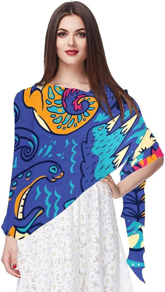 Bufanda de gasa de protección solar ligera y transpirable para mujeres verano pañuelo de cuello superior para bloquear viento y arena gato dinosaurio caballo