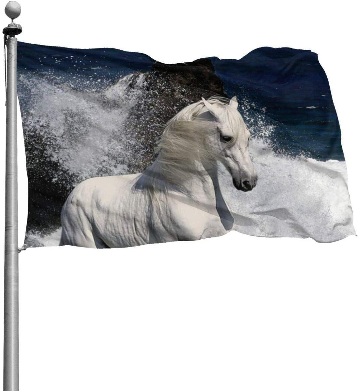 NA Hermosas Banderas de jardín para Exteriores, Elegante decoración de Caballo Blanco | Durable, Poliéster, 4X6 Ft.