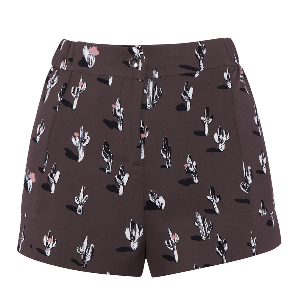 Kenzo Women's Cartoon Cactus Printed Shorts F652SH03354F-98 Anthracite, 34 (FR) / 2 (US)
