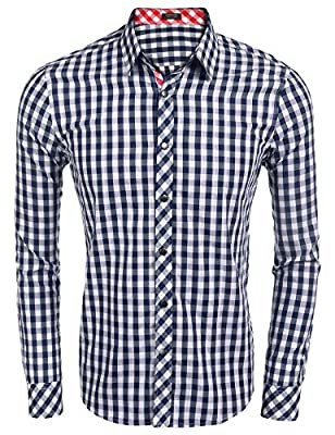 Edited Men's Classic Fashion Long Sleeve Plaid Shirt Business Checked Dress Shirt