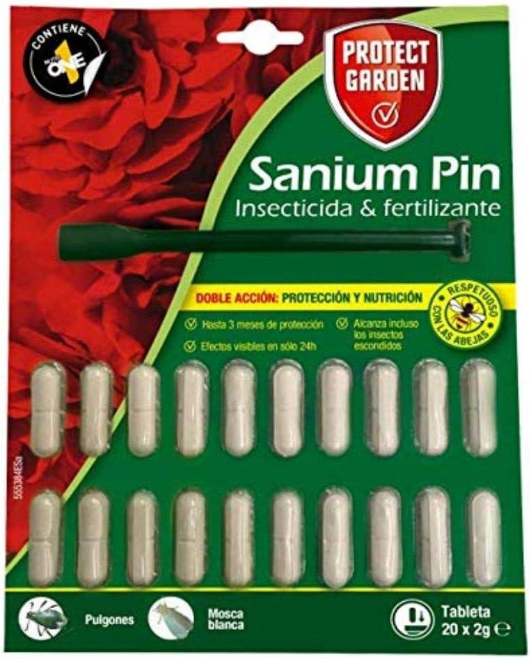 PROTECT HOME Prontect Home-Sanium Pin insecticida sistémico con Fertilizante y micronutrientes, Tratamiento Combinado, 20 Pastillas, Verde