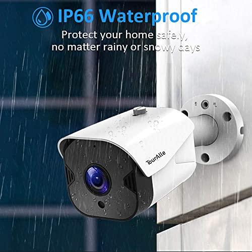 TourAlle Outdoor Security Camera -1080P HD Wireless Home Camera with IP66 Waterproof, 2-Way Audio, Motion Detection, Encrypted Cloud Storage IR Night Vision 4 Pack