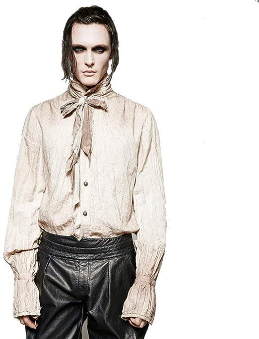 ZDAMN Camisa Ocasional de los Hombres Camisa para Hombre Steampunk Camisa Vieja Lavada Gótico Retro Bowtie Cardigan Camisa Camisa de la Ropa de los Hombres Casuales (tamaño : M.XL): Amazon.es: Hogar