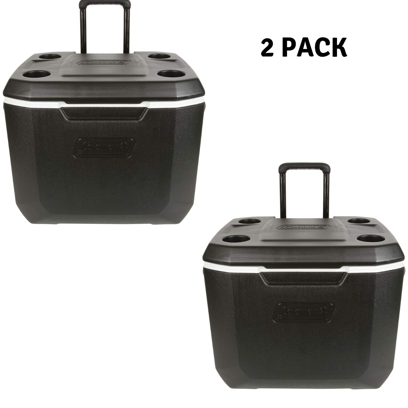 Coleman 50-Quart Xtreme 5-Day Heavy-Duty Cooler with Wheels, Black, 2 Pack