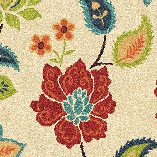 Garden Chintz - Orian Rugs Indoor/Outdoor Floral Garden Chintz Area Rug (7'8x10'10'', Ivory)