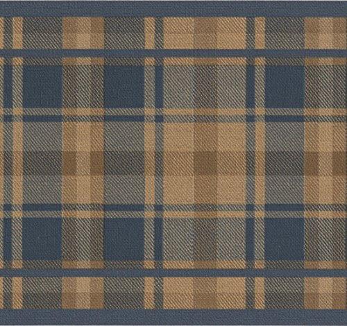 Brown Blue Plaid Wallpaper Border Stripe Design, Roll 15' x 7''
