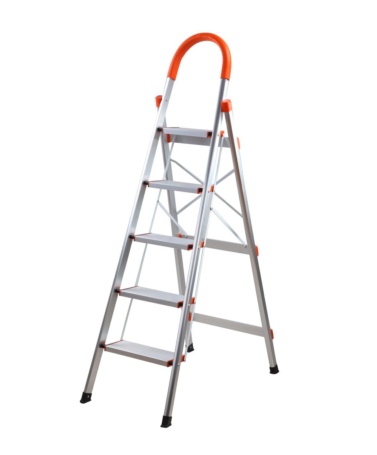 Aluminum Step Ladder Lightweight Multi Purpose Portable Folding Home Ladder 5 Step