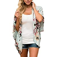 Sumen Women Floral Kimono Cover up Loose Chiffon Blouse Open Front Cardigan