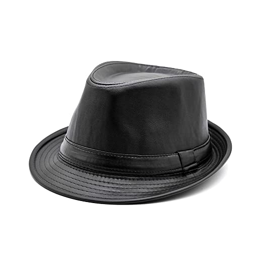 Maylian Black Synthetic Leather Trilby Fedora Hat for Men Women-Hip Hop  Jazz Hats Short e04396f693e5