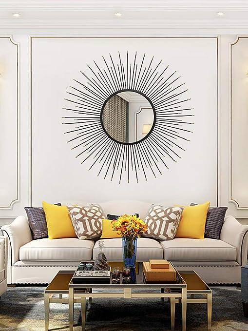 Amazon Com 27 6 Black Wall Decoration Gold Ornment Wall Mirror Metal Wall Hanging Bar Living Room Decoration Mirror Home Decor Home Kitchen