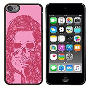 Planetar® ( Cráneo del pelo Muchacha del arte Vignette Rosa ) Apple iPod Touch 6 6th Touch6 Fundas Cover Cubre Hard Case Cover